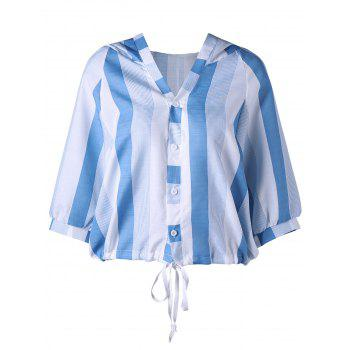 Button Up Striped Hooded Blouse