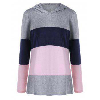 Plus Size Color Lump Hooded Long Sleeve T-shirt