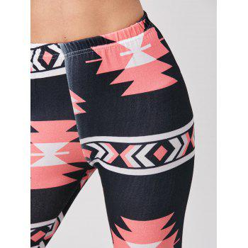 Chic High-Waisted Bodycon Geometric Print Women's Leggings - BLACK ONE SIZE(FIT SIZE XS TO M)