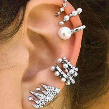 Faux Pearl Rhinestoned Cartilage Ear Cuff Set