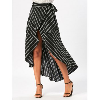 Stripe Print Maxi High Low Wrap Skirt