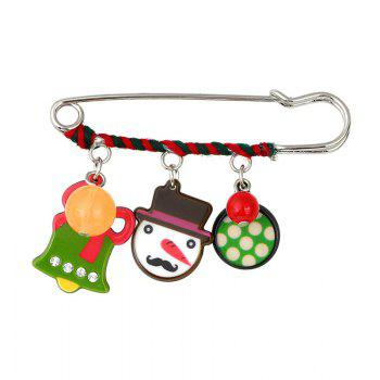 Charm Rhinestone Christmas Bell Snowman Brooch - COLORMIX COLORMIX