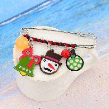 Charm Rhinestone Christmas Bell Snowman Brooch -  COLORMIX