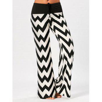 Zigzag Print Palazzo Pants with Drawstring