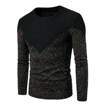 Textured Weave Colorful Knit Blends Sweater