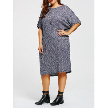 Plus Size Batwing Sleeve Knitted Dress with Pocket