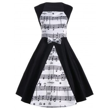 Sleeveless Musical Notes Print Vintage Dress
