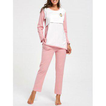 Two Tone Cotton Nursing Pajamas Set