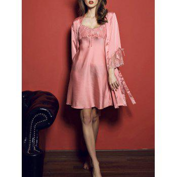 Slip Embroidered Dress with Kimono Robe