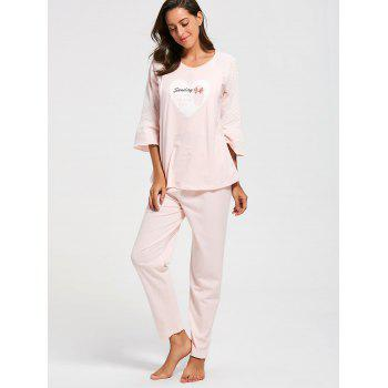 Mesh Insert Cotton Nursing Pajamas Set - LIGHT PINK LIGHT PINK