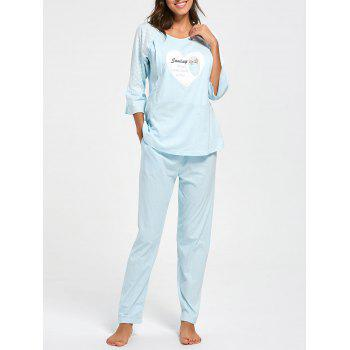 Mesh Insert Cotton Nursing Pajamas Set - CLOUDY XL