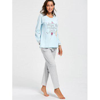 Cotton Printed Nursing Loungewear Set - CLOUDY M
