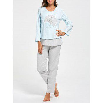 Striped Cotton Nursing Loungewear Set - CLOUDY M