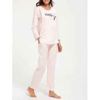 Cotton Nursing Pajamas Set with Sleeves