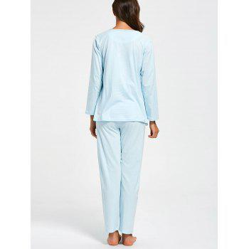 Cotton Nursing Pajamas Set with Sleeves - M M