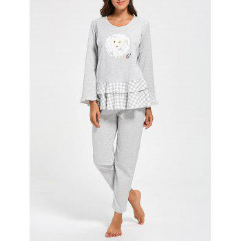 Flounce Plaid Cotton Nursing Loungewear Set - GRAY GRAY