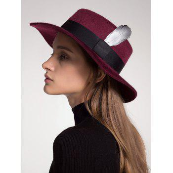 Wool Blended Hat with Ribbon Feather Embellished