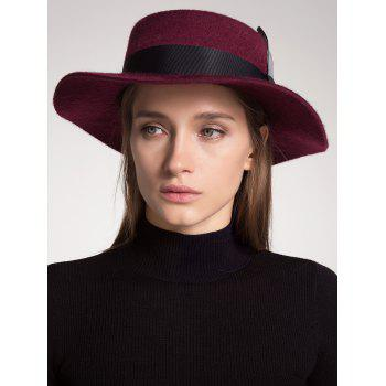 Wool Blended Hat with Ribbon Feather Embellished - WINE RED