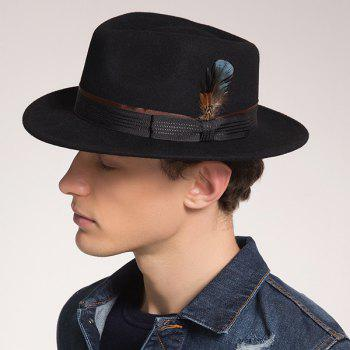 Ribbon Bowknot Embellished Fedora Hat with Feather
