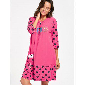 Hearts Print Nursing T-shirt Night Dress - PEACH RED XL