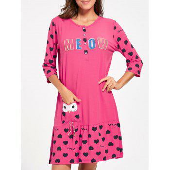 Hearts Print Nursing T-shirt Night Dress