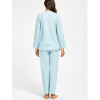 Cotton Button Up Nursing Pajamas Set - LIGHT BLUE LIGHT BLUE