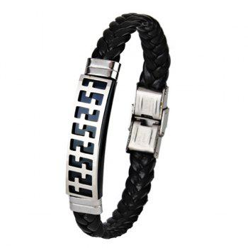 Stainless Steel PU Leather Braid Crucifix Bracelet