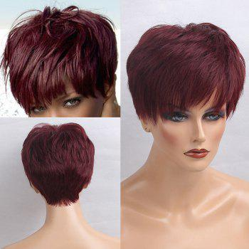 Inclined Bang Short Layered Straight Human Hair Wig - WINE RED WINE RED