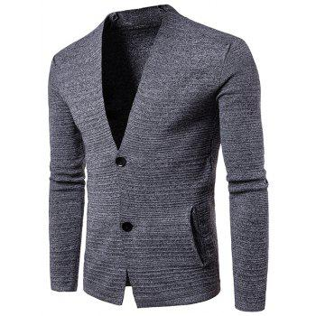 V Neck Textured Button Up Cardigan