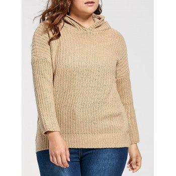 Plus Size Drop Shoulder Long Chunky Hooded Sweater