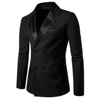 Double Breasted PU Leather Panel Edging Blazer