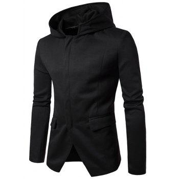 Shoulder Pad Hooded Cover Placket Zip Up Coat