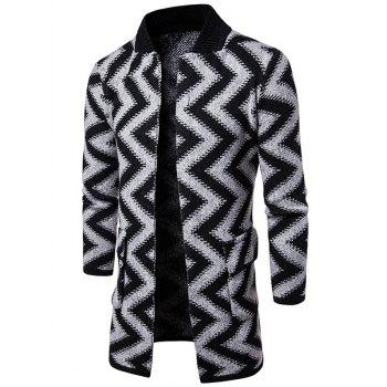 Open Front Chevron Stripe Slub Knit Tall Coat