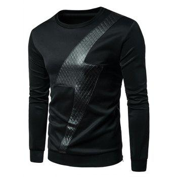 Side Zip PU Leather Lightning Sweatshirt