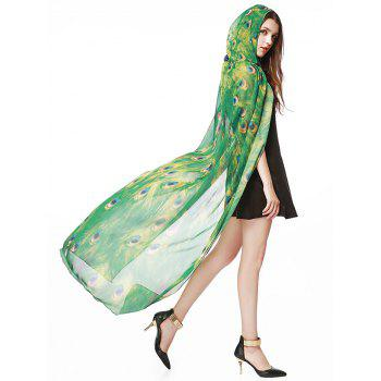 Hooded Peacock Pattern Festival Chiffon Long Cape