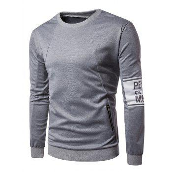 Zippers Embellished Graphic Pullover Sweatshirt