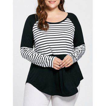 Plus Size Raglan Sleeve Striped Tee
