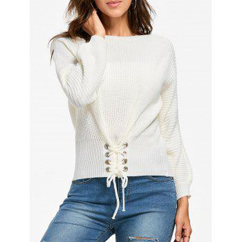 Boat Neck Lace-up Sweater