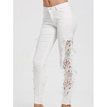 Lace Insert Hollow Out Jeans