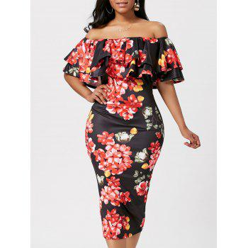 Floral Ruffle Off The Shoulder Bodycon Dress