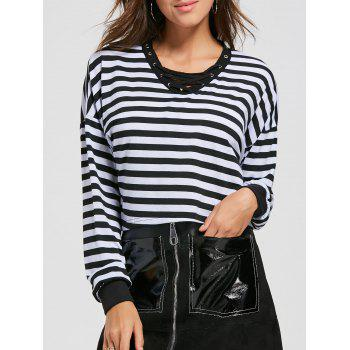Striped Long Sleeve Lace Up Crop Top