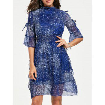 Split Flare Sleeve Chiffon Star Dress - BLUE M
