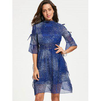 Split Flare Sleeve Chiffon Star Dress - BLUE L
