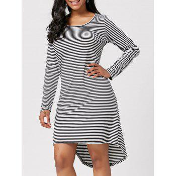 Striped Cut Out Back High Low Dress