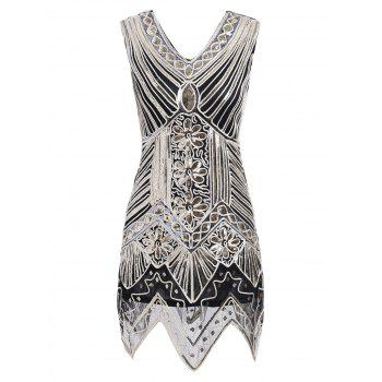 Sequin Glitter V Neck Vintage Dress
