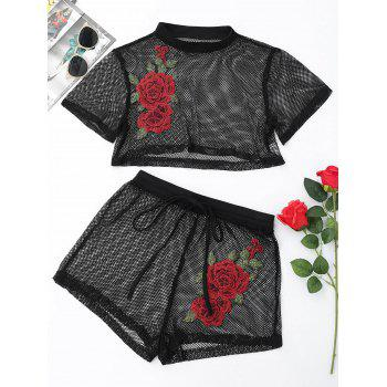 Patched Floral Mesh Crop Top with Shorts - BLACK S
