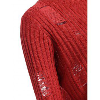 Ripped Ribbed Knitwear with Knit Pencil Skirt - RED M