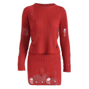 Ripped Ribbed Knitwear with Knit Pencil Skirt - RED L