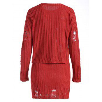 Ripped Ribbed Knitwear with Knit Pencil Skirt - XL XL