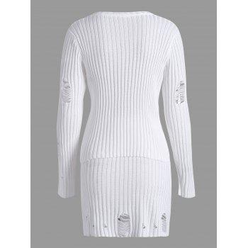 Ripped Ribbed Knitwear with Knit Pencil Skirt - WHITE WHITE